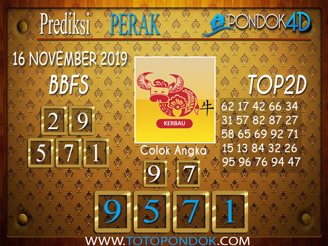 Prediksi Togel PERAK PONDOK4D 16 NOVEMBER 2019