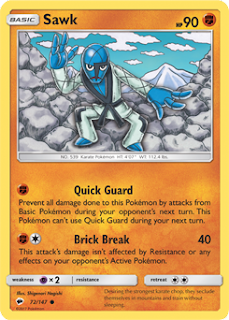 Sawk Burning Shadows Pokemon Card