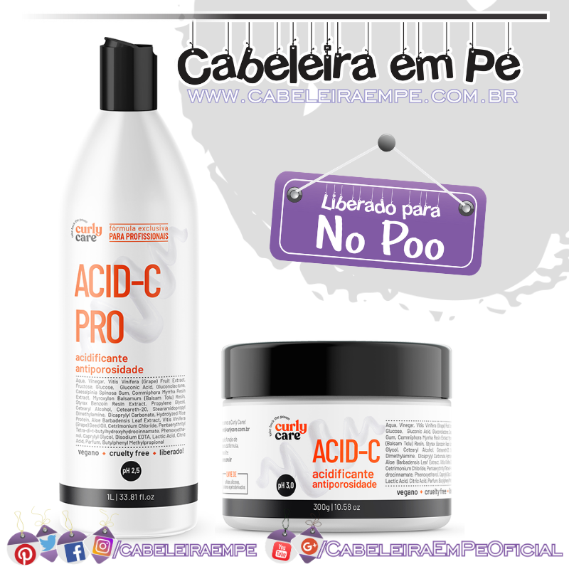 Acidificantes Acid-C e Acid-C Pro - Curly Care (No Poo)
