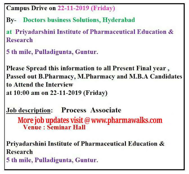 Doctor Business Solutions conducting campus drive for B.Pharm / M.Pharm / MBA Freshers on 22nd November, 2019