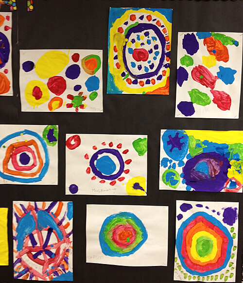 A collection of dot paintings by Grade 1 students in celebration of International Dot Day.