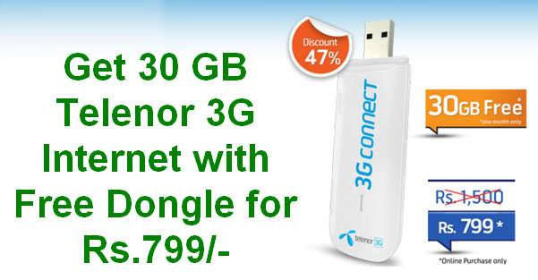 Get 30 GB Telenor 3G Internet with Free Dongle for Rs.799/-
