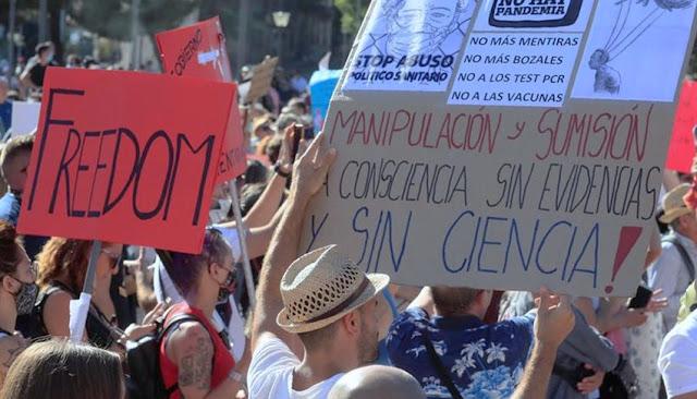 Protestan contra coronavirus y mascarillas en España