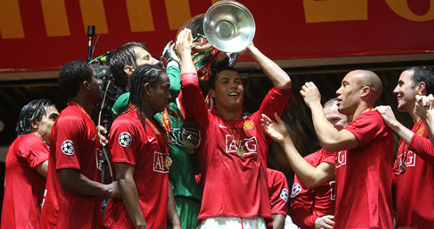 The Manchester United team which won the Premier League and Champions League