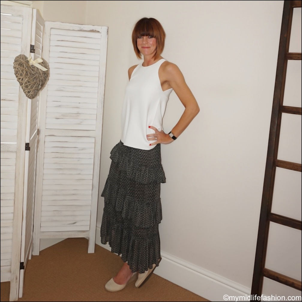 my midlife fashion, marks and Spencer knitted vest top, Isabel Marant Etoile tiered maxi skirt, vionic espadrille wedge sandals