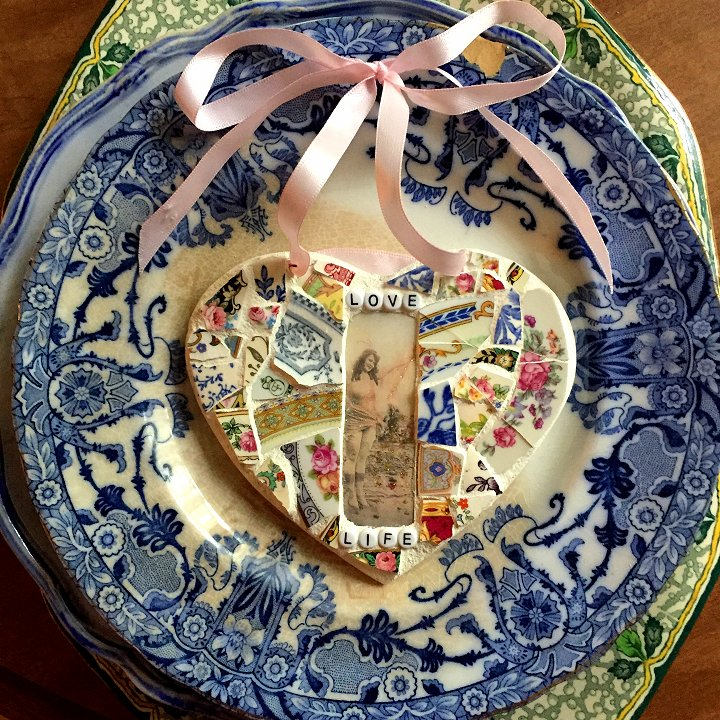 Broken china mosaic heart designed by Laura Beth Love, Emmaus, PA