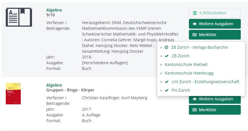 Screenshot zur Verfügbarkeitsanzeige