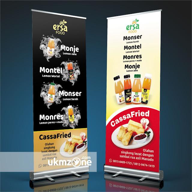 Desain roll banner untuk usaha kecil mikro menengah ukm umkm ikm kuliner Ersa Food Depok - UKM ZONE