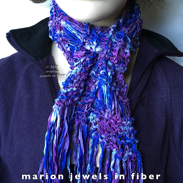 Knitted Scarf with Silk Ribbon | Free Pattern