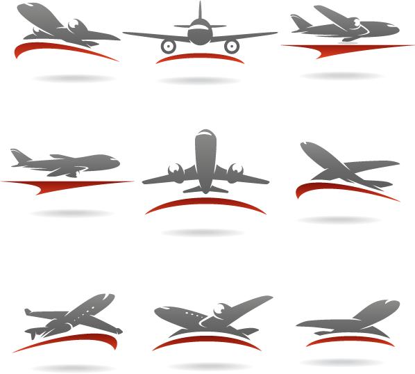 Logos de transporte aviones - Vector