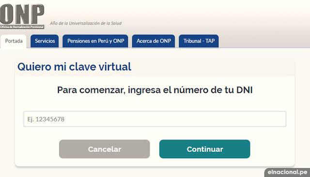 ¿Cómo solicitar mi clave virtual ONP?