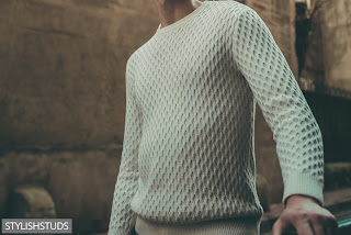 A crew neck men sweater with pattern