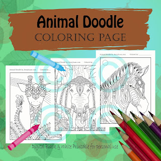 animal doodle coloring page for adult