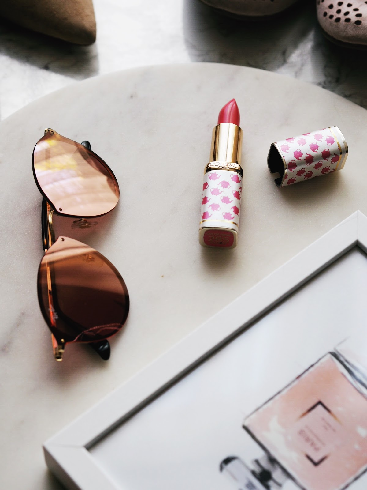 Summer Shoe Staples Ray Ban Blaze Round Pink Sunglasses and Desenio Perfume Print