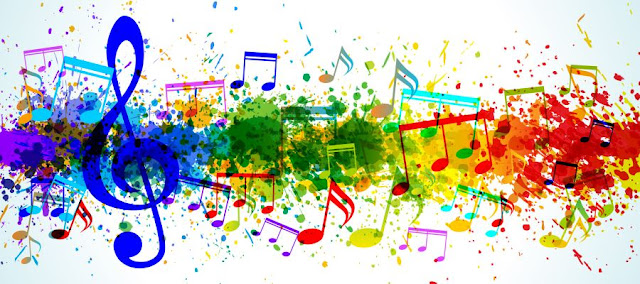 Musical notes in colourful backgrounds