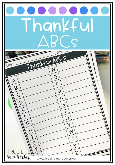 Students brainstorm something they are thankful for that begins with each letter of the alphabet. A Thanksgiving FREEBIE!