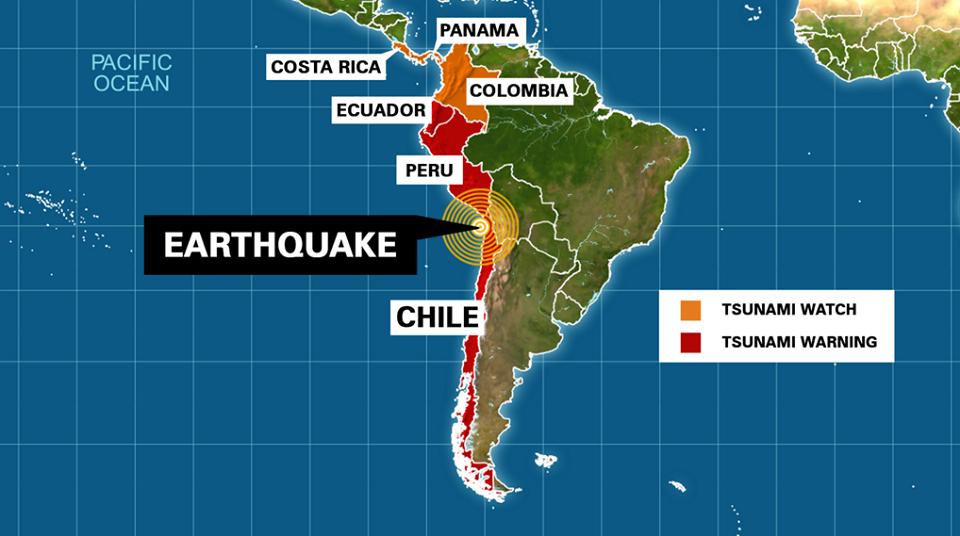 Países con alerta de tsunami, 01 de Abril 2014