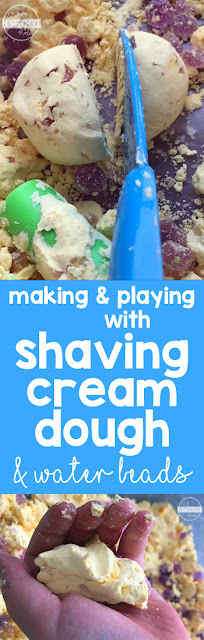 Super Silky Shaving Cream Dough - this is such a fun, unique and smooth playdough recipe. I love the creative use of water beads