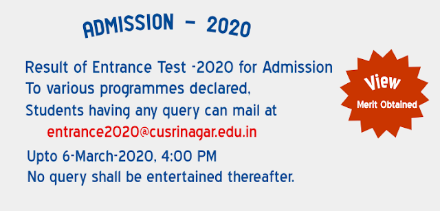 Cusrinagar Entrance 2020 - Answer Keys / Points / Lists Released Check Now @cusrinagar.edu.in