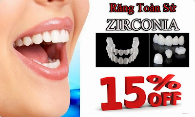 giảm giá 15% răng toàn sứ zirconia