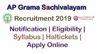 AP Grama Sachivalayam Notification 2019 Apply Online Full Details