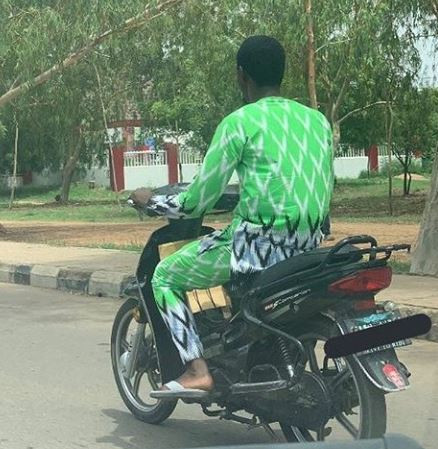 Lol! Okada rider spotted rocking the 'Ankara' version of the famous Super Eagles jersey