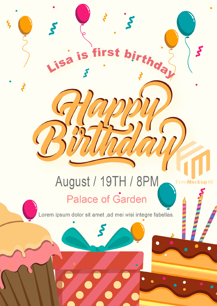 Purple Children Cartoon Birthday Invitation