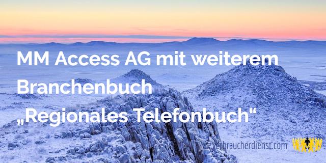 """Titel: MM Access AG mit weiterem Branchenbuch """"Regionales Telefonbuch"""""""