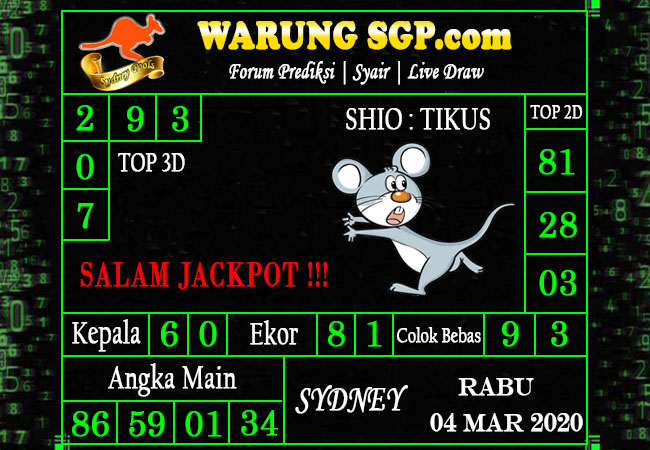 Prediksi Togel JP Sidney Rabu 04 Maret 2020 - Prediksi Warung SGP