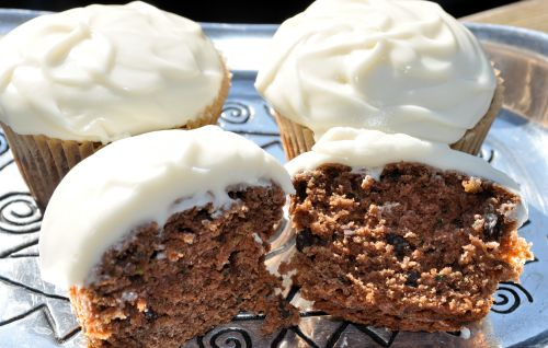 Vegan Double Chocolate Cupcakes Alongside Dairy-Free, Soy-Free Cream Cheese Frosting