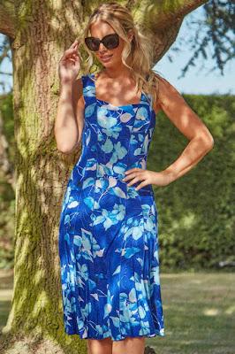 Royal Blue Floral Panel and Flare short sundress