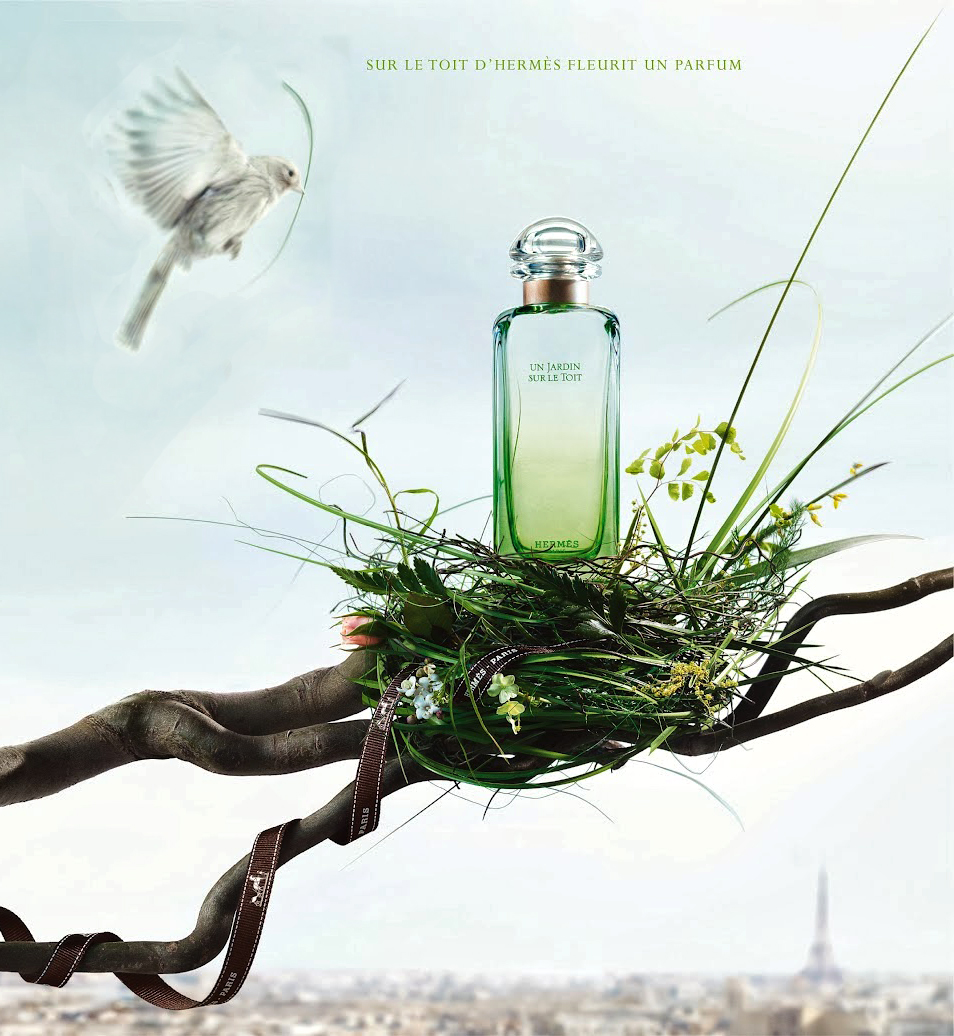 Spring green/white/grey mood board / Hermes Un Jardin Sur Le Toit perfume ad campaign via www.fashionedbylove.co.uk