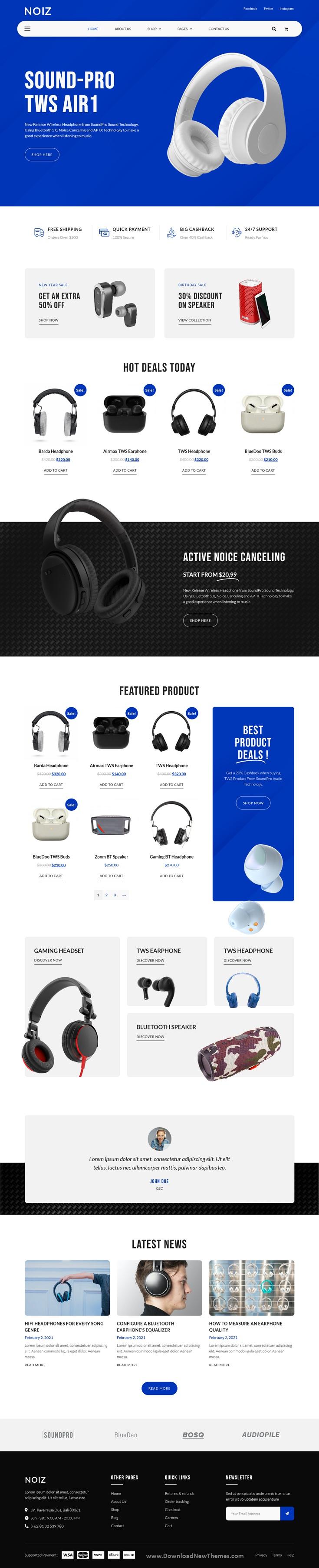 Audio Store WooCommerce Elementor Template Kit