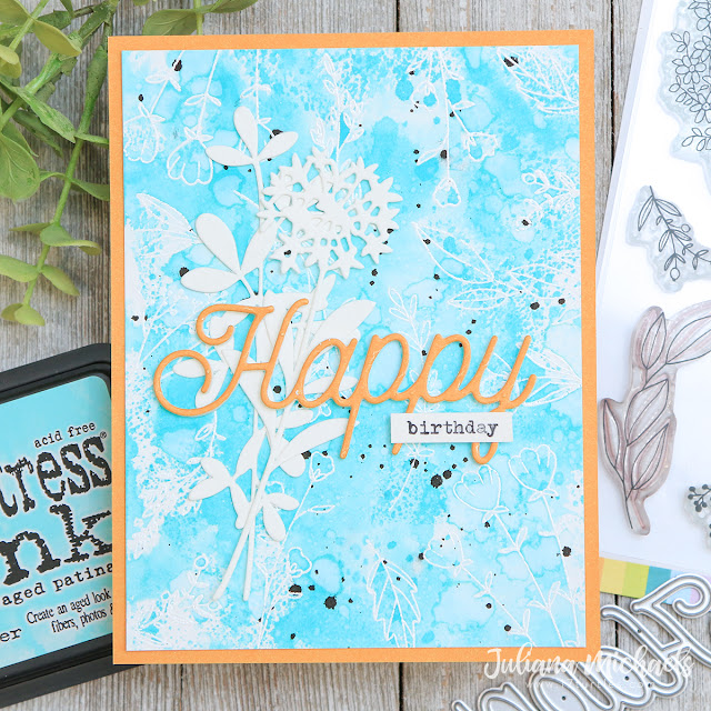 Happy Birthday Card by Juliana Michaels featuring Scrapbook.com Spring Sprigs Stamp Set