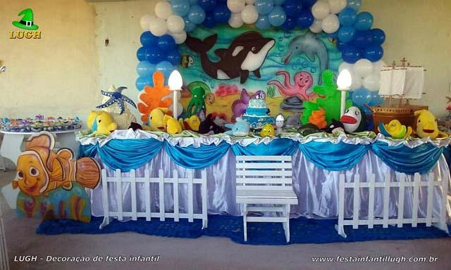 Decoração festa infantil masculina - Mesa tradicional de tecido(pano) tema Fundo do Mar