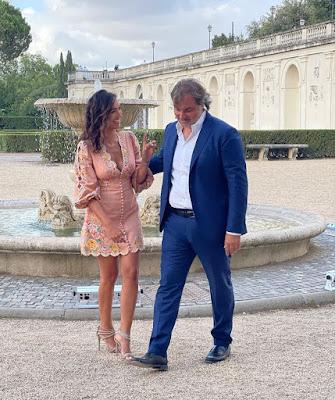 Caterina Balivo con Pierluigi Pardo 14 luglio a Villa Medici