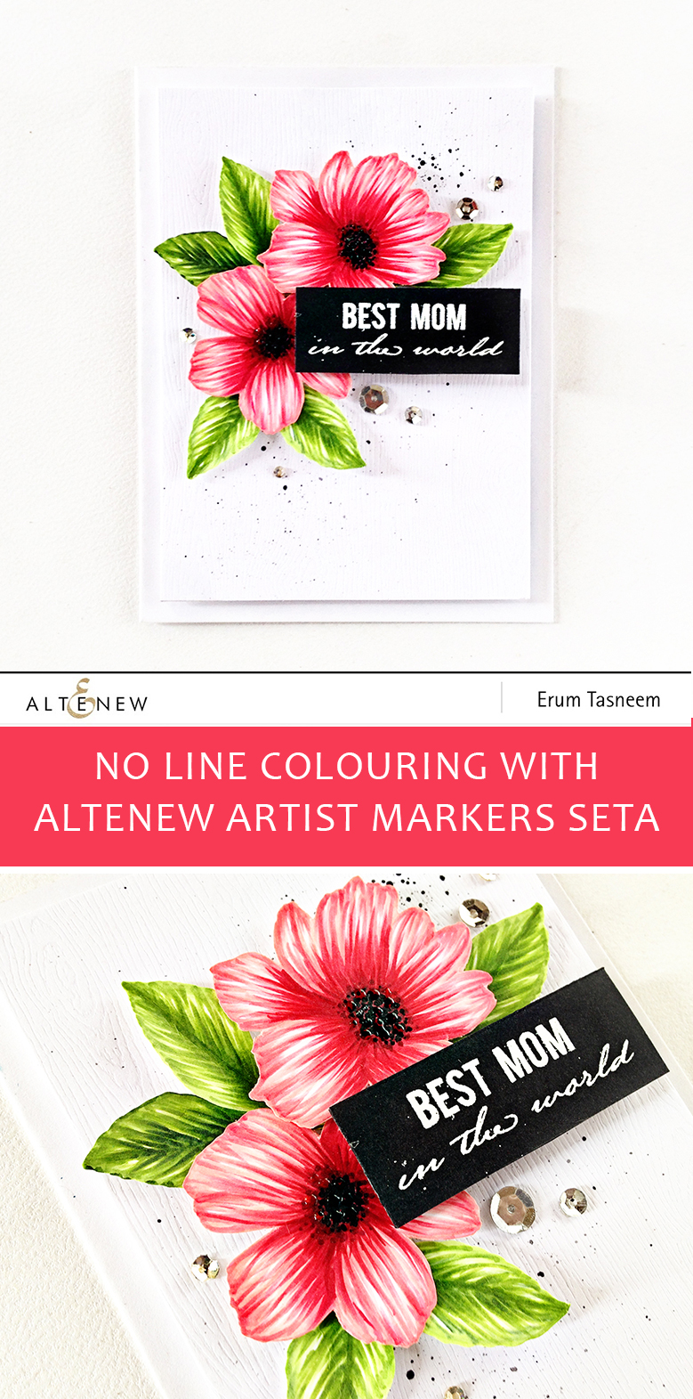 Wild Hibiscus Stamp Set coloured with Altenew Artist Markers Set A | Card by Erum Tasneem | @pr0digy0