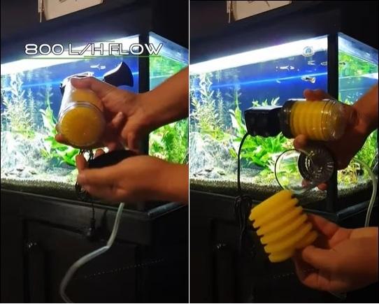 Disassembling an aquarium internal filter