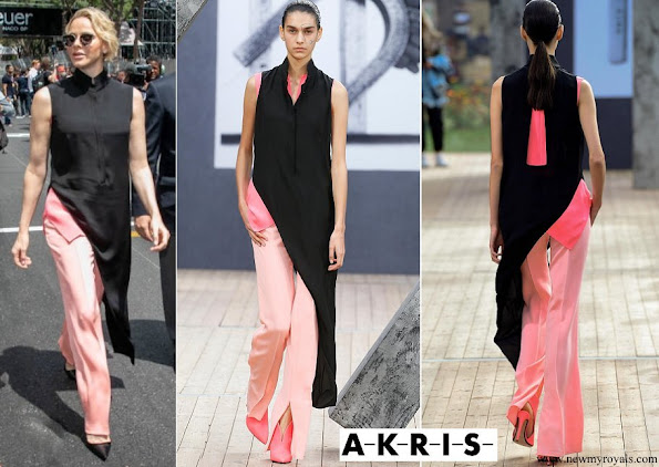 Princess-Charlene wore Akris Mock neck long tunic silk crepe