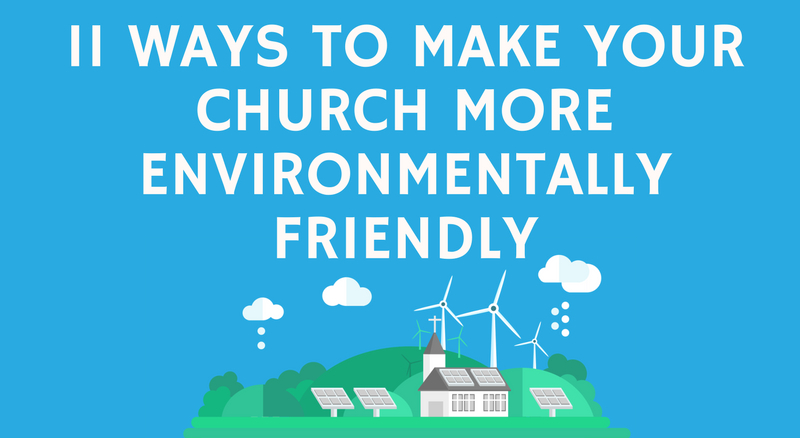 A church with solar panels and a wind farm generating it's own green electricity