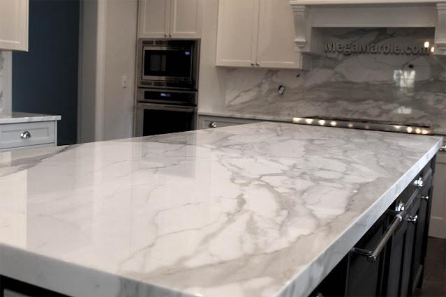 Calacatta white marble island
