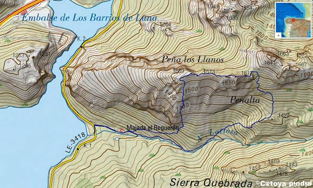 Mapa IGN de la ruta a Peña Los llanos por la vías el sector Canalizos