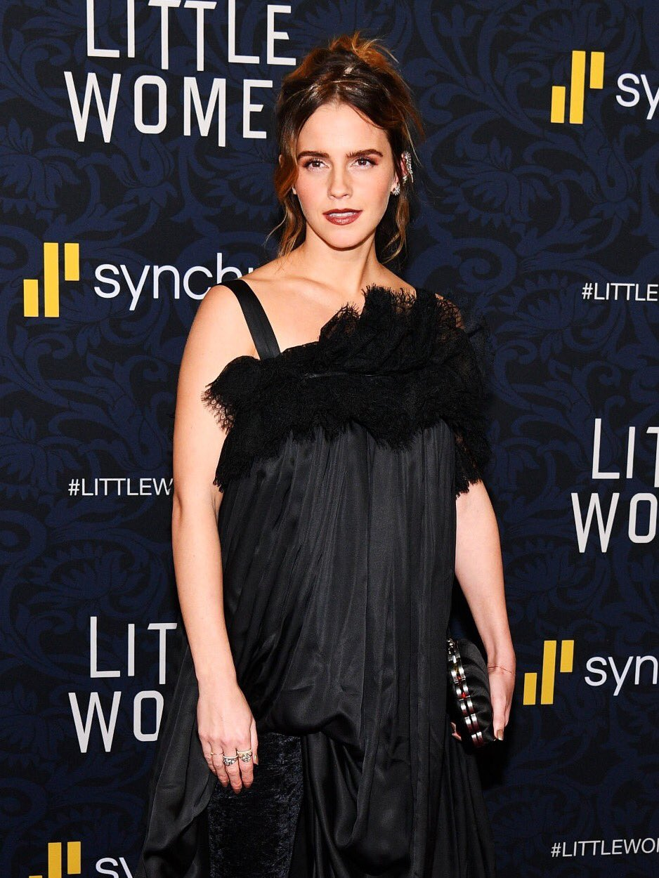 Emma Watson is a Victorian beauty in black as she joins Saoirse Ronan and Laura Dern for the NYC premiere of Little Women
