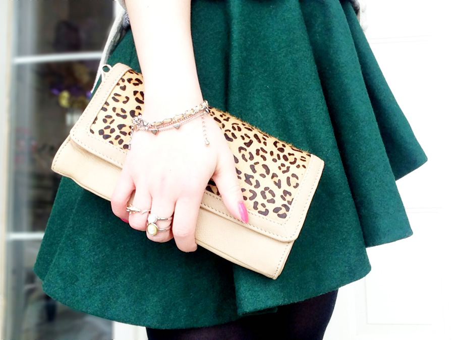Peplum Top x Asymmetrical Skirt with leopard clutch