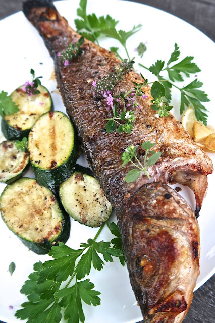 Whole Grilled Branzino with Sliced Zucchini