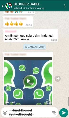 cara membuat huruf strikethrough di whatsapp