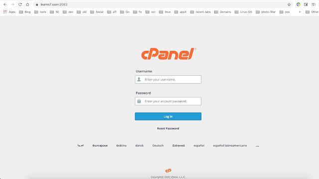 صفحة تسجيل الدخول cpanel لموقعك
