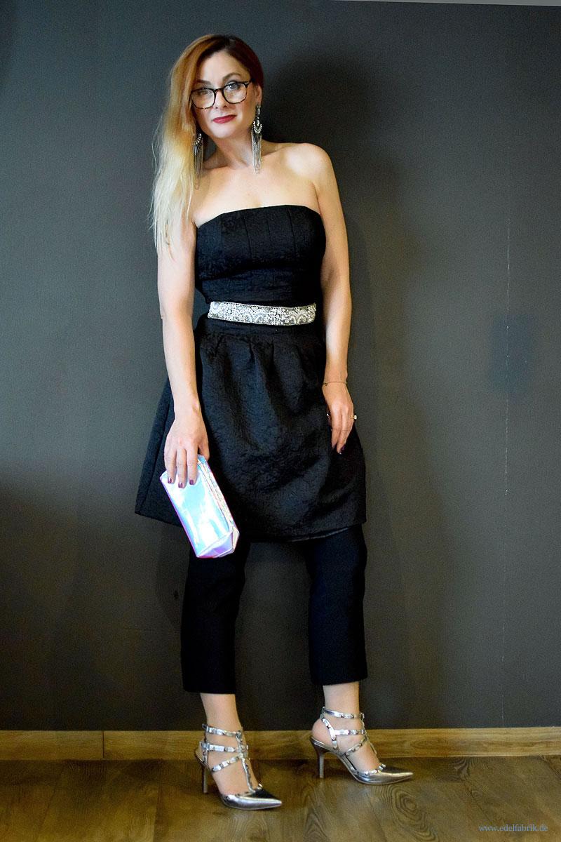 schwarzes Kleid über Hose zu Silvester, schwarzes Minikleid von H&M