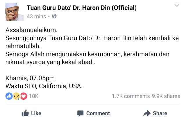 Mursyidul Am PAS Datuk Dr Haron Din Meninggal Dunia ,Dato' Haron Din Meninggal Dunia , Haron Din Meninggal Dunia