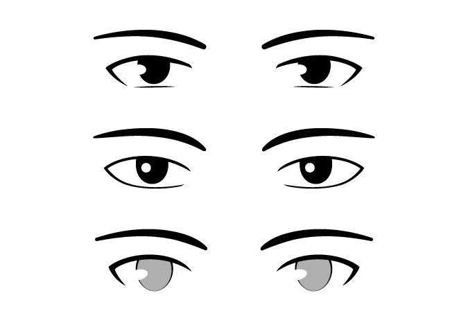 Contoh mata anime pria gaya yang sangat sederhana